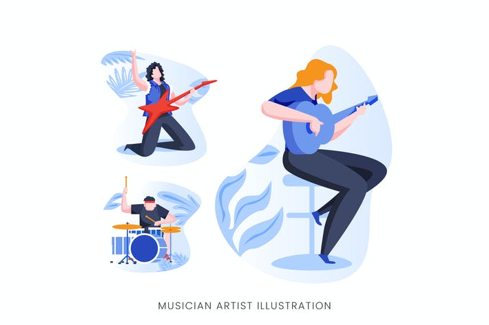 Thumbnail for Musician Artist Vector Character Set