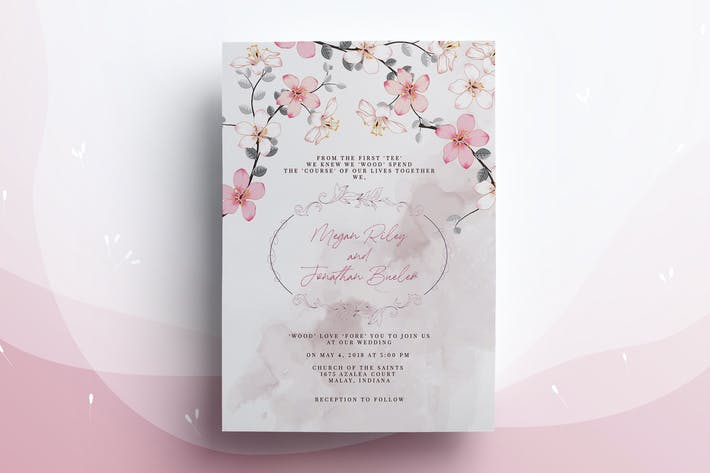 Thumbnail for Flower Blossom Wedding Invitation Card
