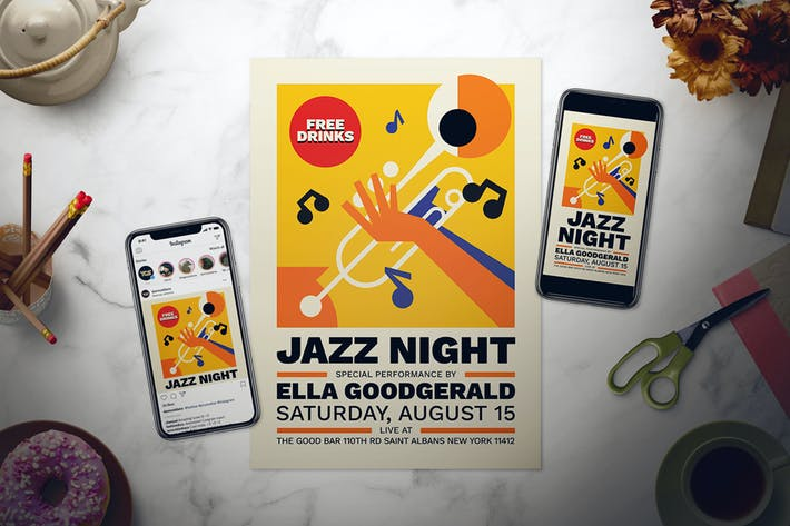 Thumbnail for Jazz Night Flyer Set