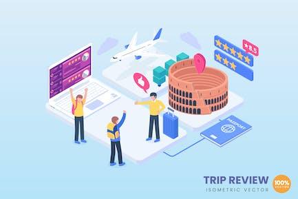 Ilustración del concepto isométrico de revisión del viaje