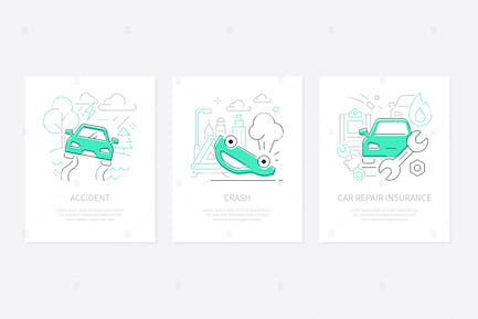 Car accidents - line design style banners set