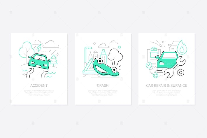 Thumbnail for Car accidents - line design style banners set