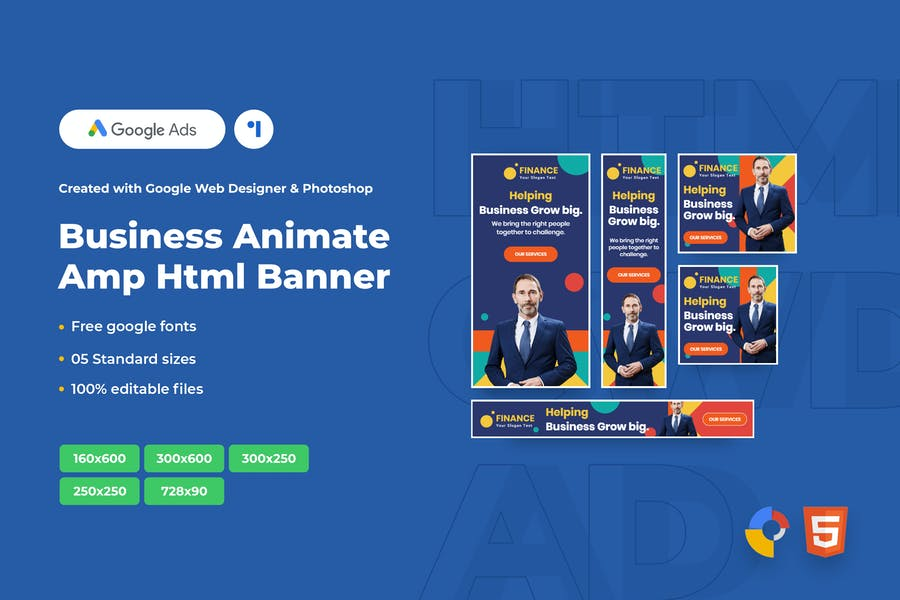 Business Animate Ads Template AMPHTML Banners