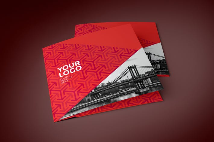 Thumbnail for Square Modern Red Pattern Trifold