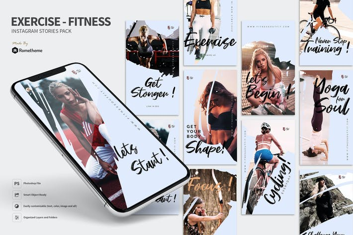 Thumbnail for Exercise - Fitness Instagram Stories Pack RY