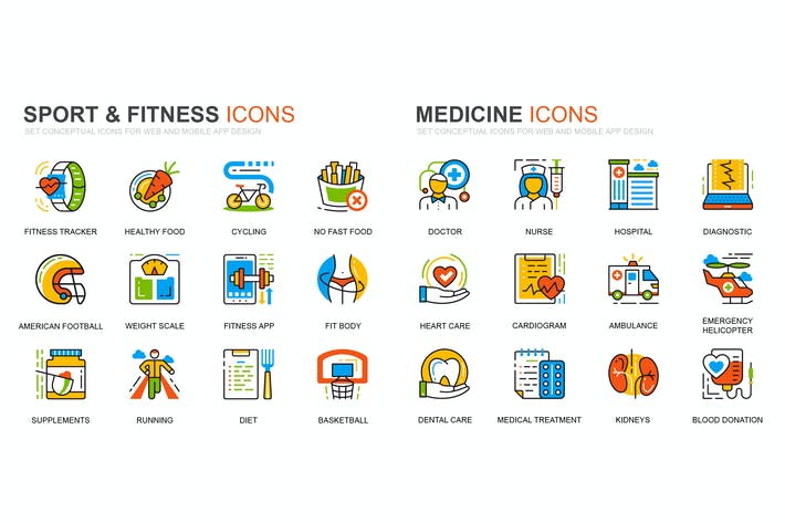 Cover Image For Fitness and Medicine Line Icons Set