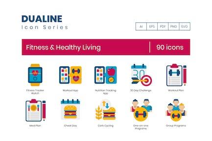 90 Íconos planos de fitness y vida saludable
