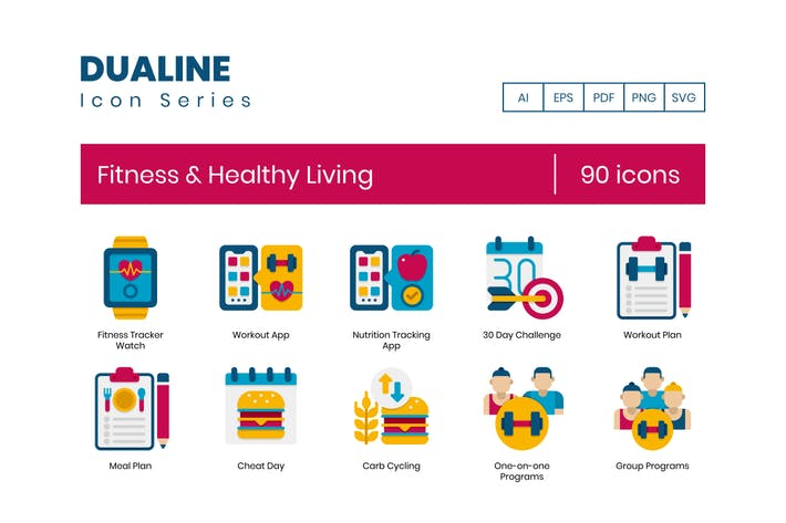 Thumbnail for 90 Fitness & Healthy Living Flat Icons