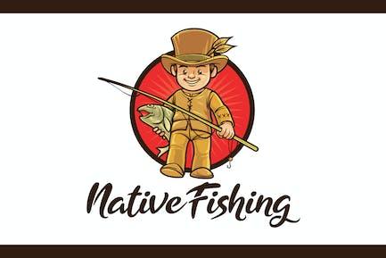 Native Fishing Character Mascot Logo