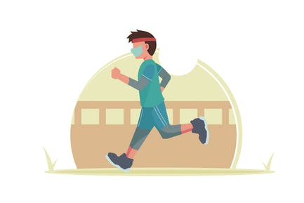 A Boy Jogging