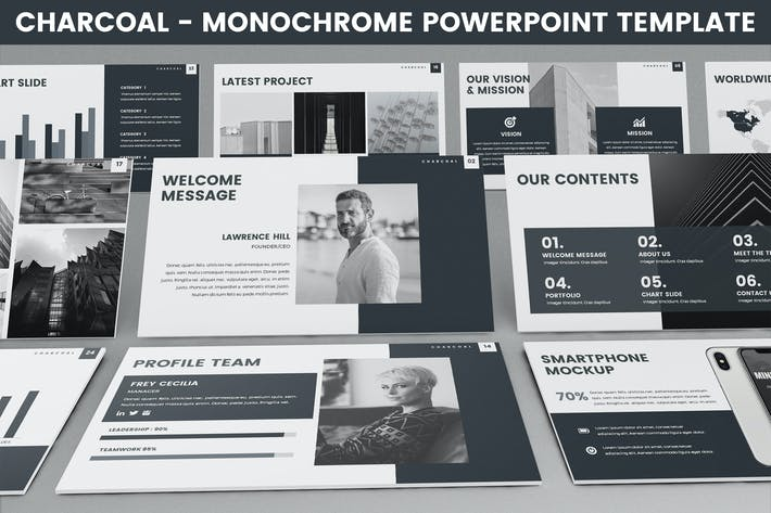 Thumbnail for Charcoal - Monochrome Powerpoint Template