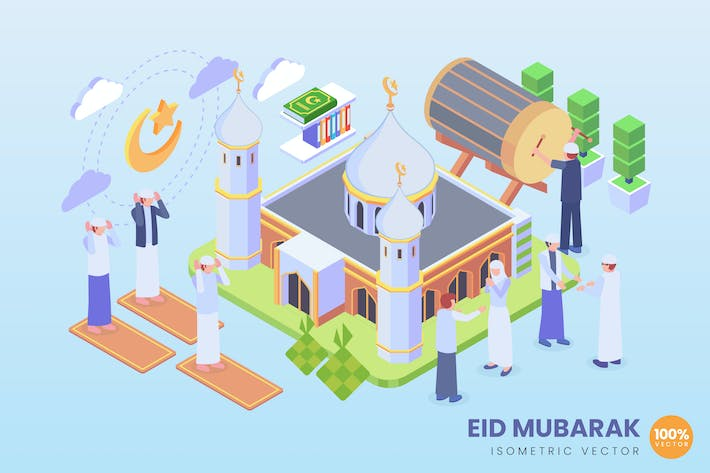 Cover Image For Isometric Eid Mubarak Vector Concept