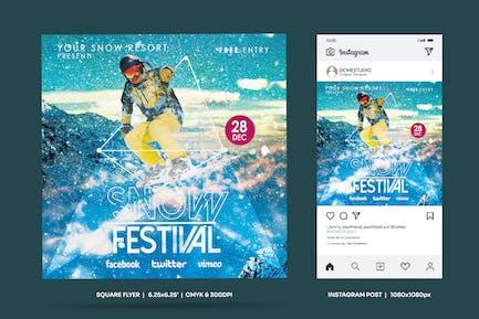 Winter Snow Festival SquareFlyer & Insta Post
