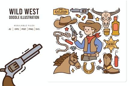 Wild West Doodle Illustration