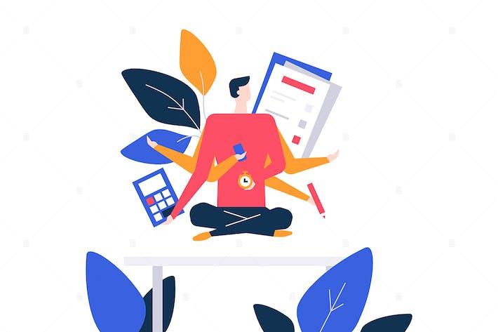 Thumbnail for Mindfulness at work - flat design illustration