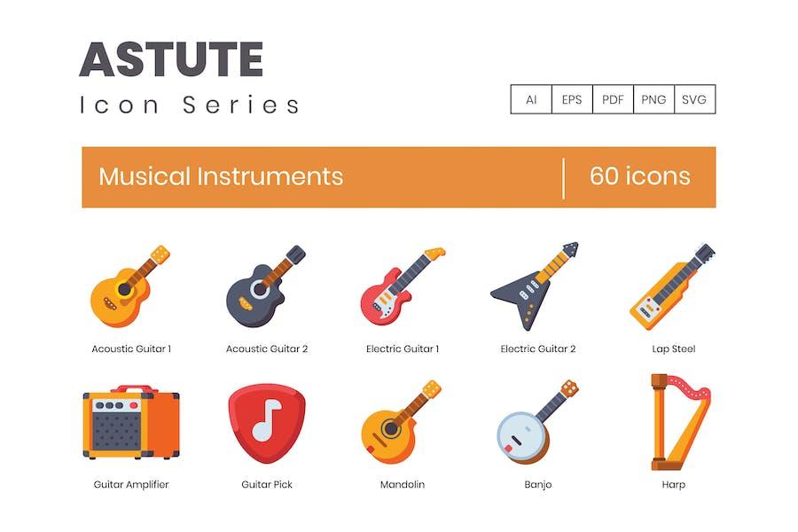 60 Musikinstrumente Icons - Astute Series