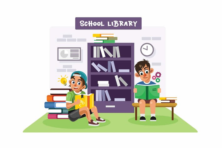 Thumbnail for Kids in a School Library Vector Illustration