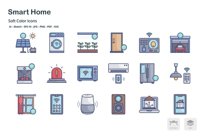 Smart home soft color icons