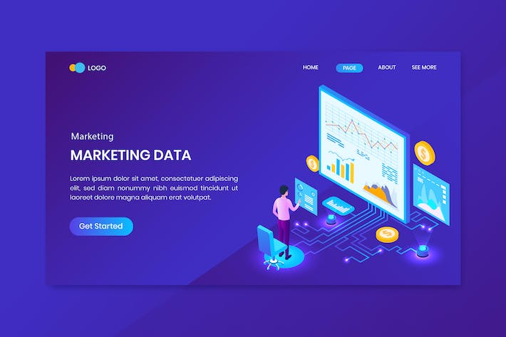 Thumbnail for Marketing Analysis Isometric Concept Landing Page