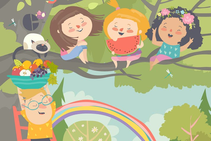 Thumbnail for Children playing and having fun in the tree
