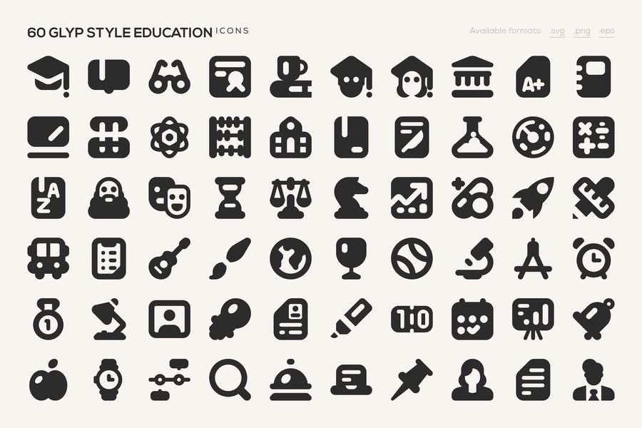 60 Glyp Style Education Icons