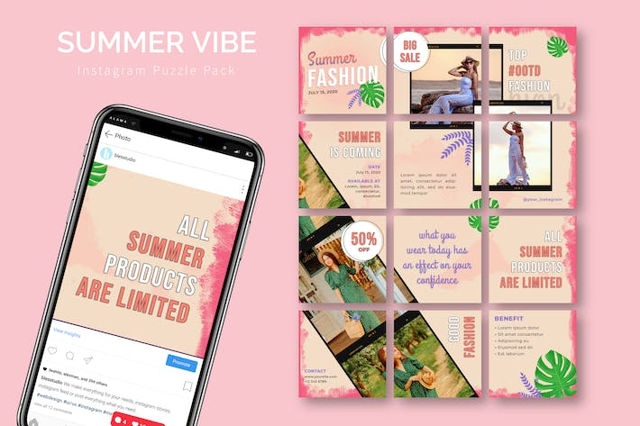 Summer Vibe - Instagram Puzzle Template