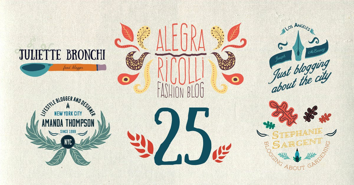 Download 25 Illustrated logos and emblems by guerillacraft