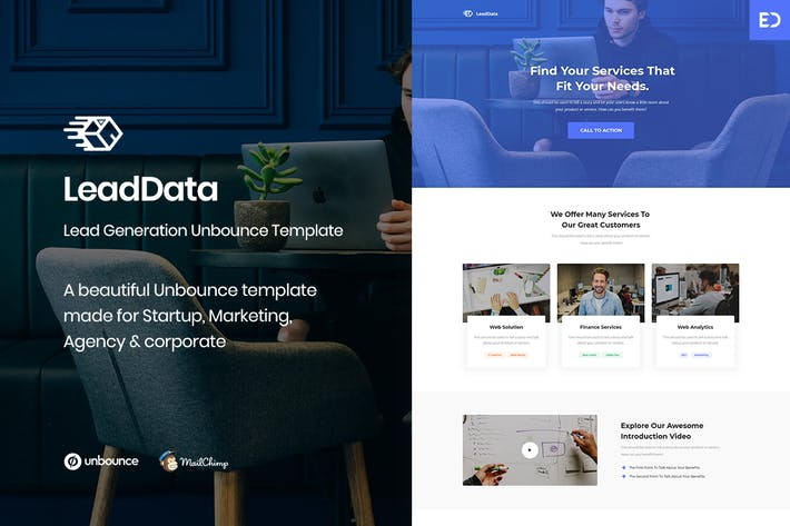 Thumbnail for LeadData - Lead Generation Unbounce Landing Page