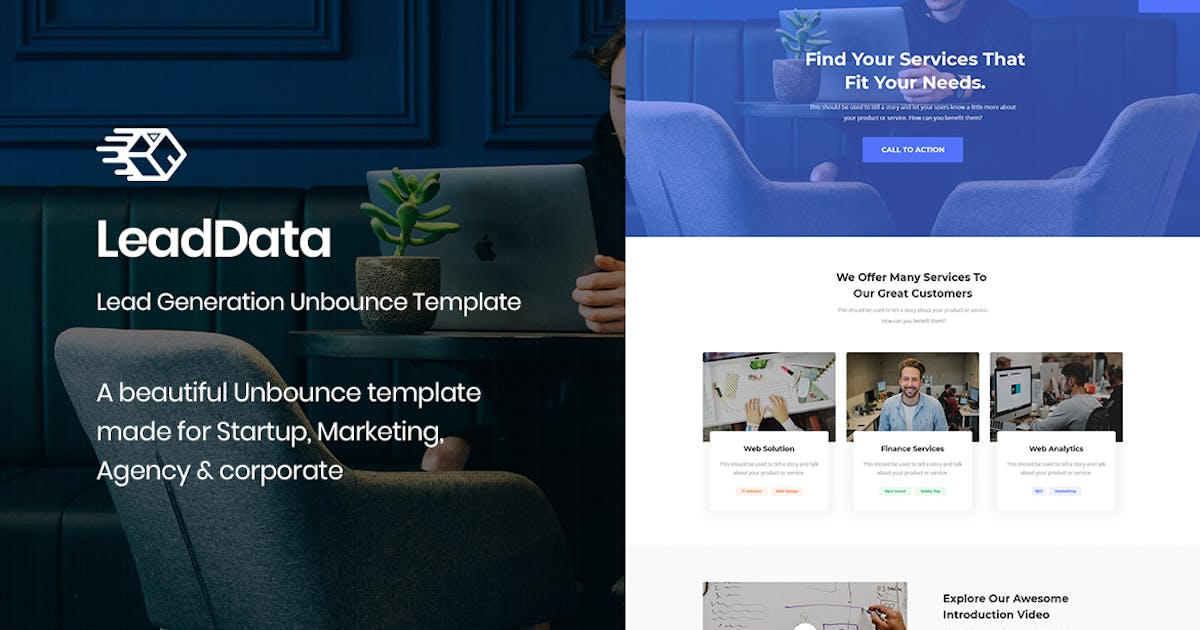 Download LeadData - Lead Generation Unbounce Landing Page by ExplicitConcepts