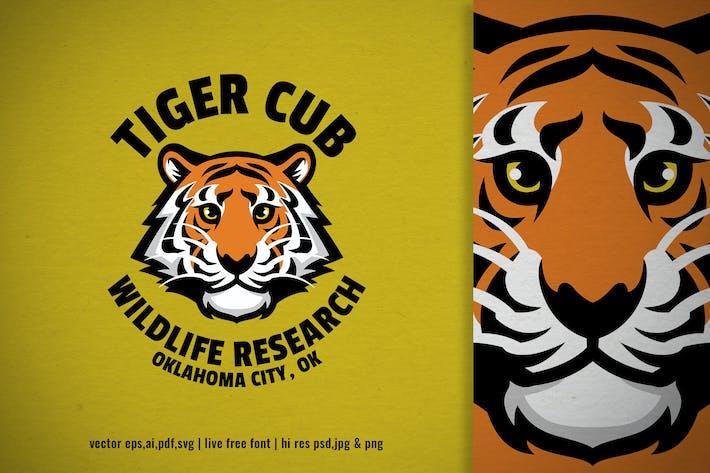 Thumbnail for tiger cub head wildlife logo