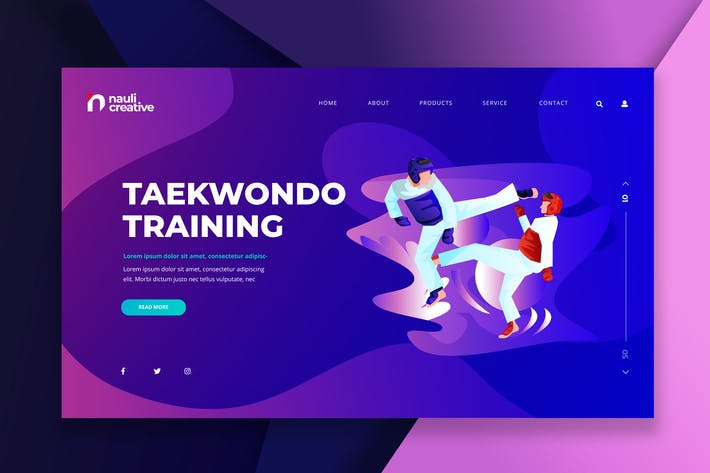Thumbnail for Taekwondo Sports Web PSD and AI Vector Template