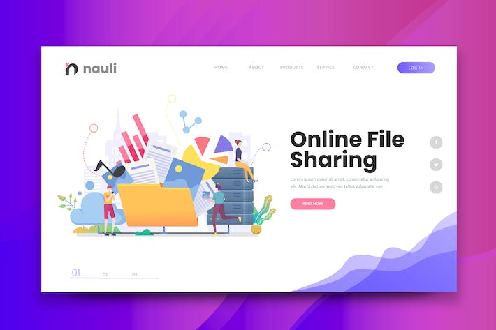 Thumbnail for Online File Sharing Web PSD and AI Vector Template