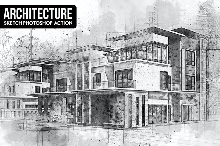 Thumbnail for Architecture Sketch Photoshop Action