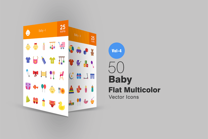 Thumbnail for 50 Baby Flat Multicolor Icons