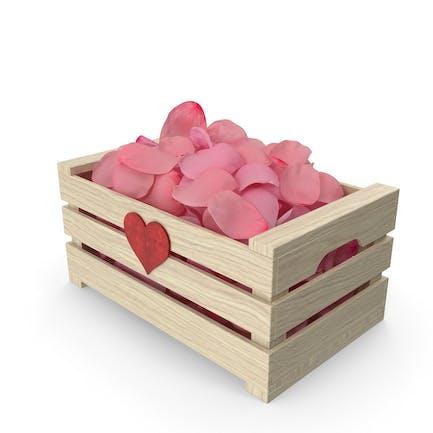 Caja de Madera con Pétalos Rosa Versión