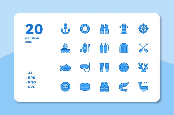 Thumbnail for 20 Nautical icons (Lineal Color)