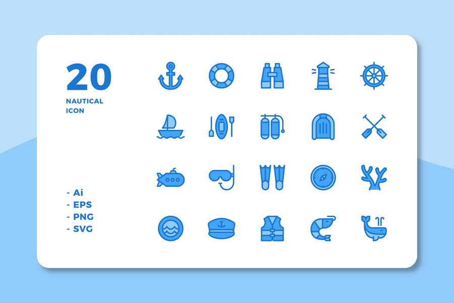 20 Nautical icons (Lineal Color)