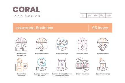 95 Insurance Business Line Icons