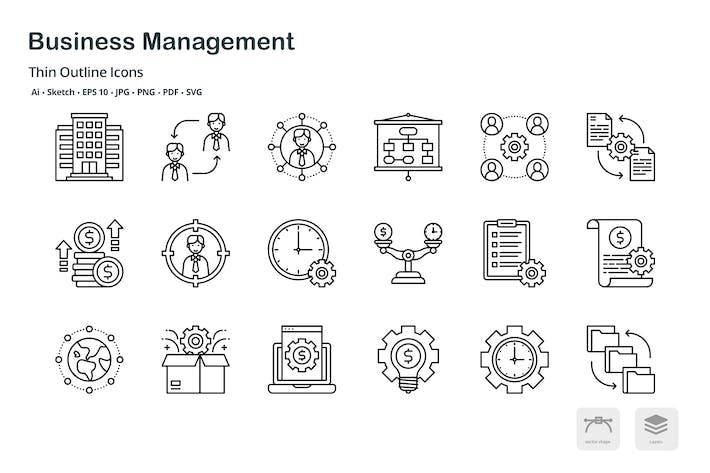 Business management thin outline icons
