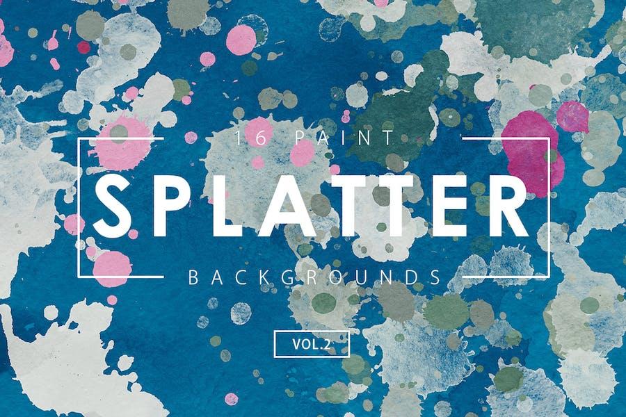 16 Paint Splatter Backgrounds Vol. 2