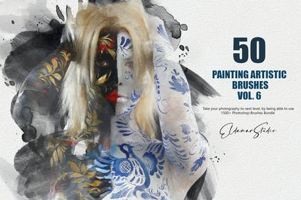 50 Painting Artistic Brushes - Vol. 6
