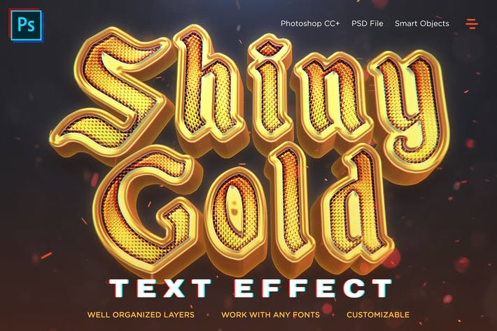 Thumbnail for Shiny Gold Realistic 3D Text Effects