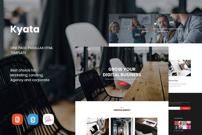 Thumbnail for Kyata | Une page Parallax HTML5 Modèle