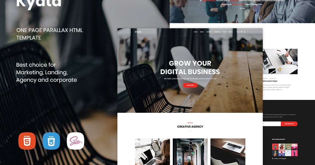 Download Kyata   One Page Parallax HTML5 Template by MarkhorThemes