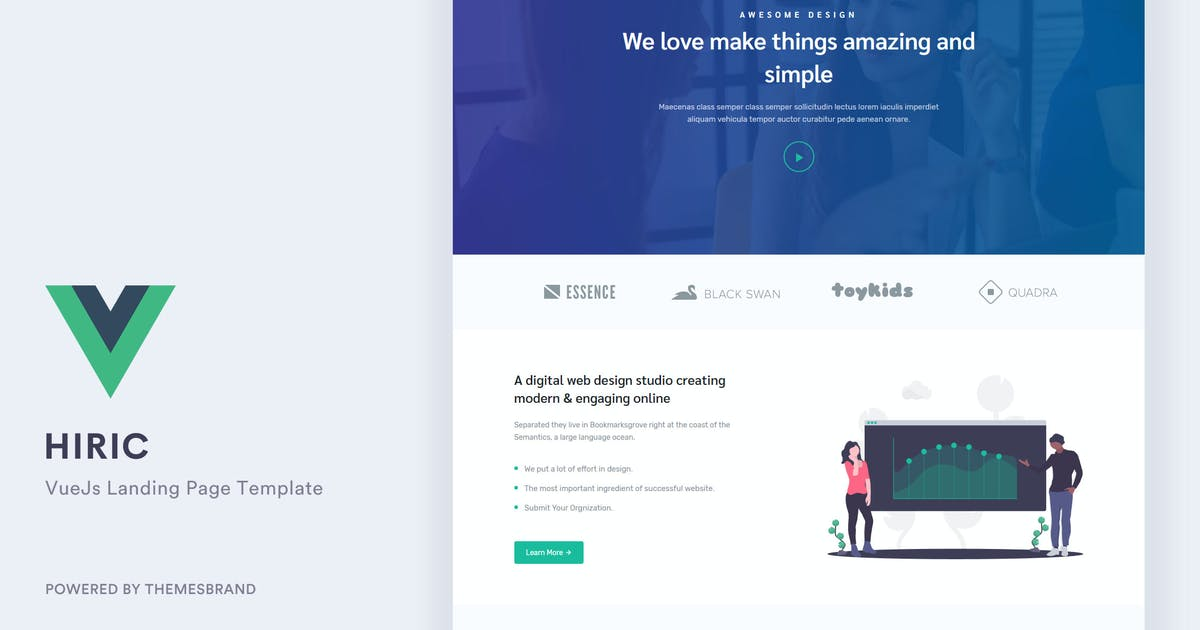 Download Hiric - VueJs Landing Page Template by Themesbrand