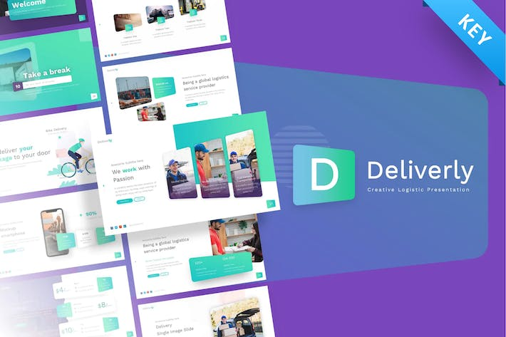 Thumbnail for Deliverly - Logistic Keynote Template