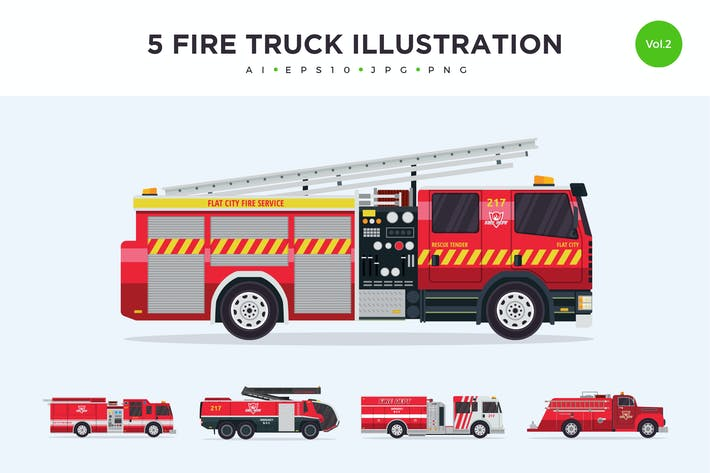 Thumbnail for 5 Firefighter Truck Vector Illustration Set 2