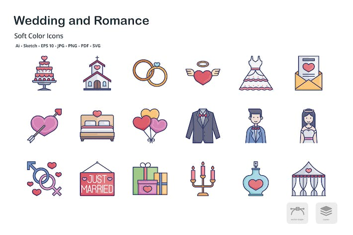 Wedding and Romance soft color icons