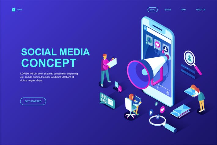 Thumbnail for Social Media Isometric Landing Page Template
