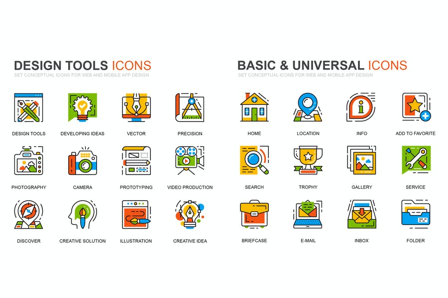 Design Tools and Basic Line Icons Set